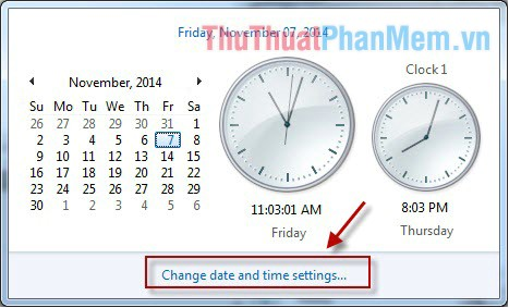 Mở hộp thoại Change date and time settting