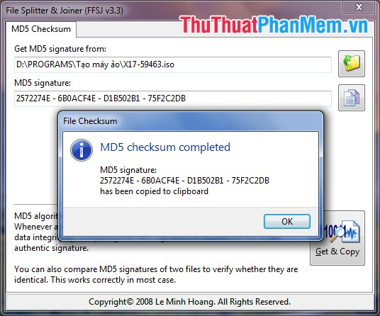 MD5 checksum completed