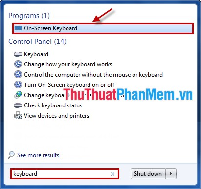 Chọn On-Screen Keyboard