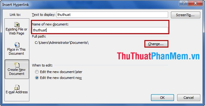 Tạo Hyperlink trong Excel