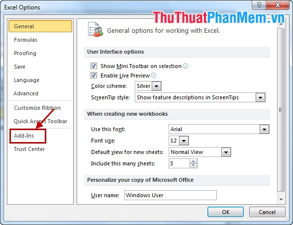 how to add ins in excel 2010