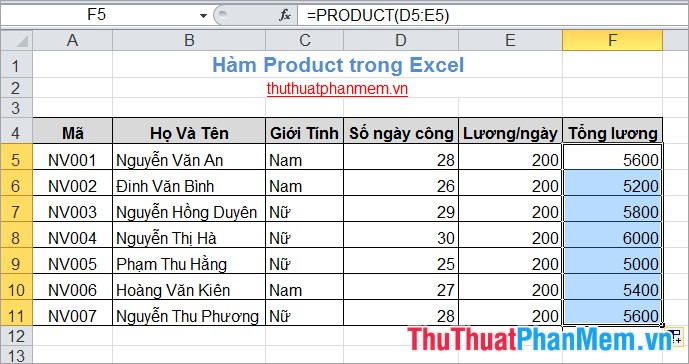Hàm Product trong Excel 5
