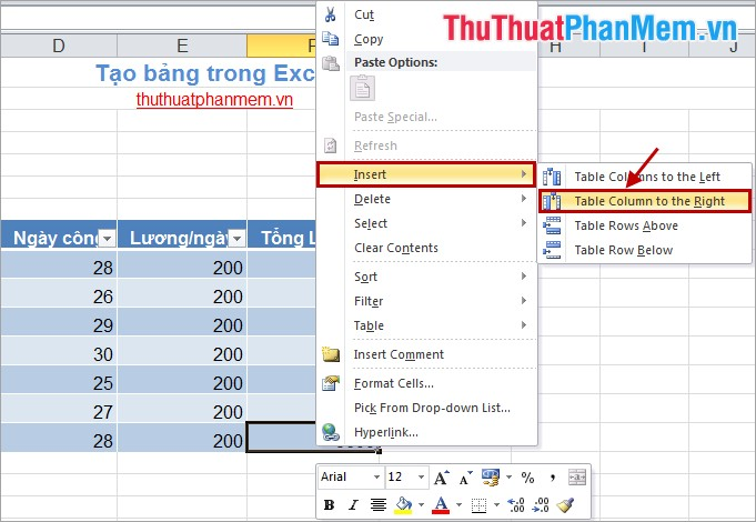 Tạo bảng trong Excel 4