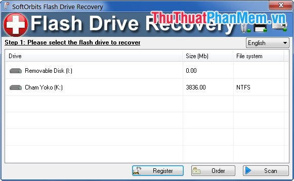 Giao diện SoftOrbits Flash Drive Recovery