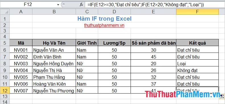 Hàm IF trong Excel 6