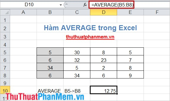 Hàm AVERAGE trong Excel 3