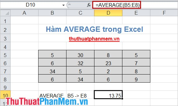 Hàm AVERAGE trong Excel 5
