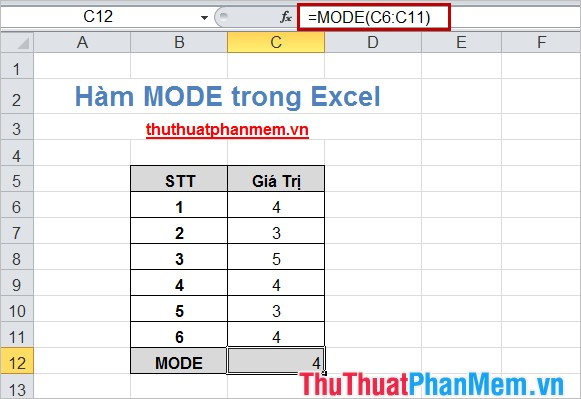 Hàm MODE trong Excel 4