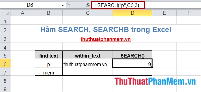 Hàm SEARCH, SEARCHB trong Excel 2
