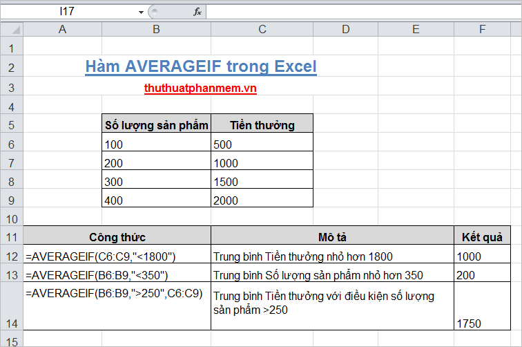 Hàm AVERAGEIF trong Excel 2