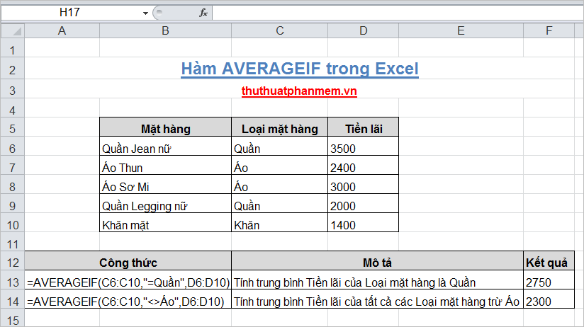 Hàm AVERAGEIF trong Excel 3