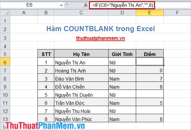Hàm COUNTBLANK trong Excel 2
