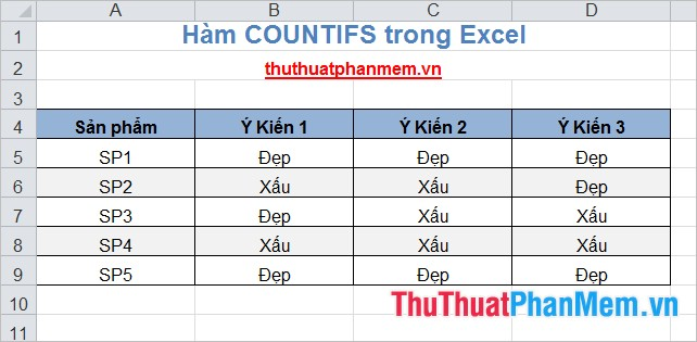 Hàm COUNTIFS trong Excel 2