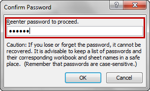 Reenter password to proceed