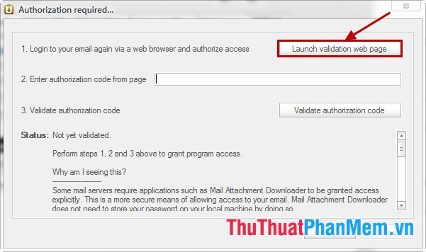 Launch validation web page