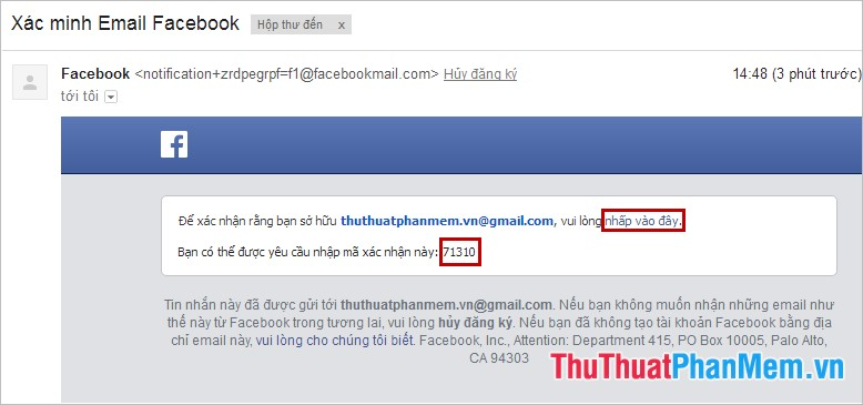 Xác minh Email Facebook
