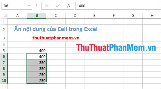 Ẩn nội dung của Cell trong Excel
