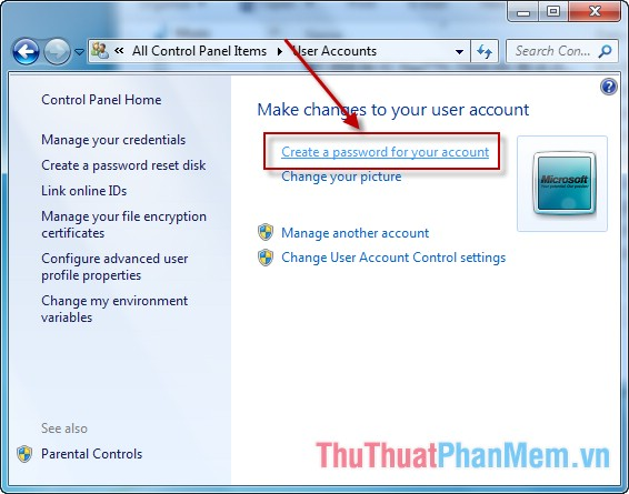 Creat a password for your account