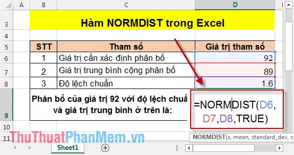 Hàm NORMDIST trong Excel 2