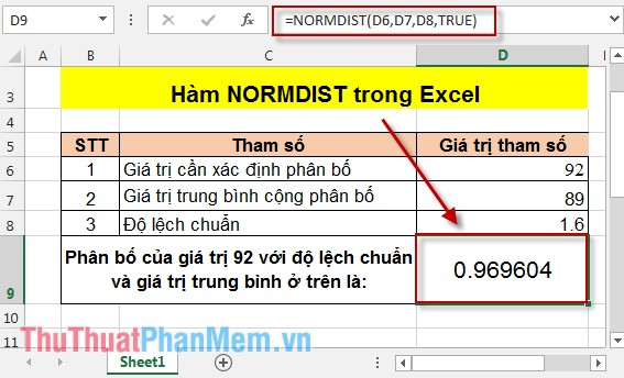 Hàm NORMDIST trong Excel 3