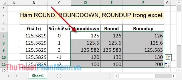 Hàm ROUND, ROUNDDOWN, ROUNDUP trong Excel 6