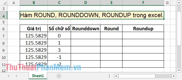 Hàm ROUND, ROUNDDOWN, ROUNDUP trong Excel