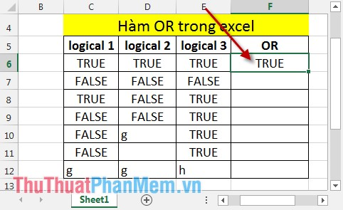 Hàm OR trong Excel 3