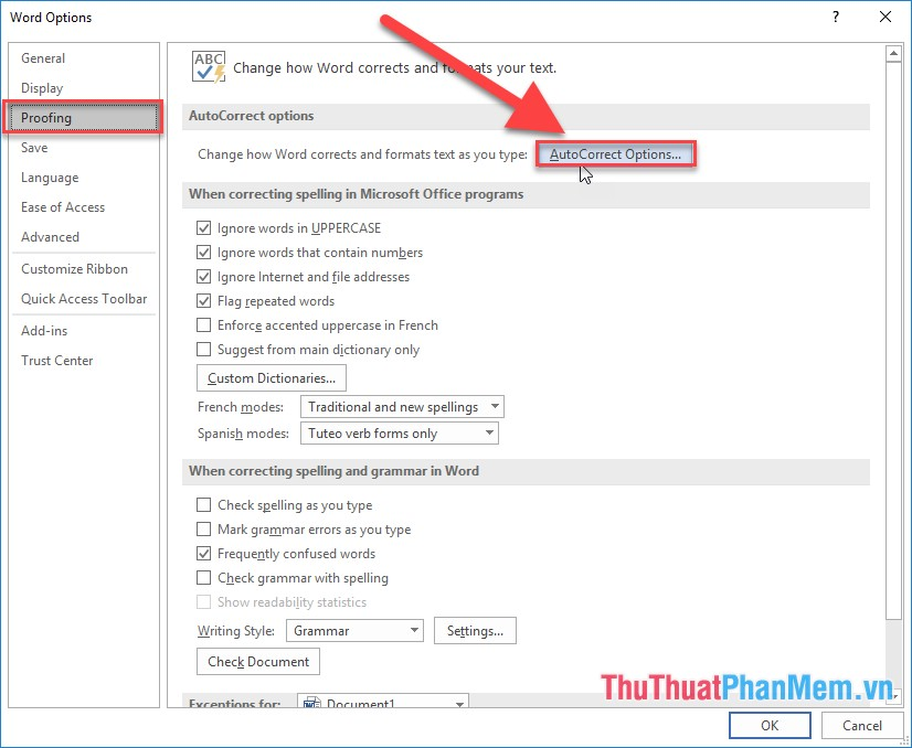 Hộp thoại Word Option xuất hiện kích chọn Proofing - AutoCorrect Options...