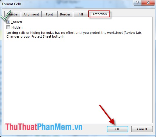 Hộp thoại Format Cells - chọn Tab Protection - chọn Locked