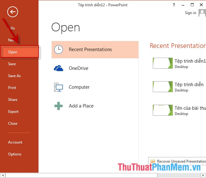 Mở PowerPoint - vào thẻ File - Open
