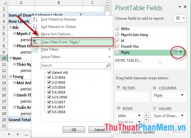 Lọc dữ liệu PivotTable report trong Excel