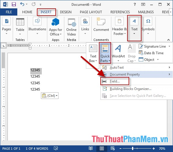 Vào thẻ Insert - Text - Quick Parts - Filed