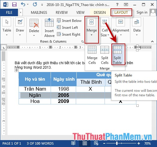 Chọn thẻ Layout - Merge - Split Table