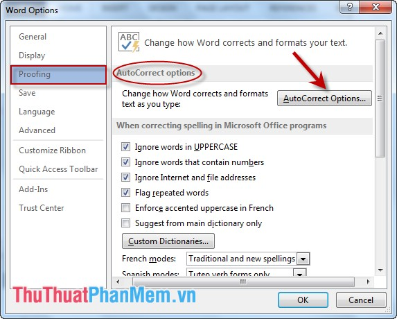 Trong mục AutoCorrect options kích chọn AutoCorrect options