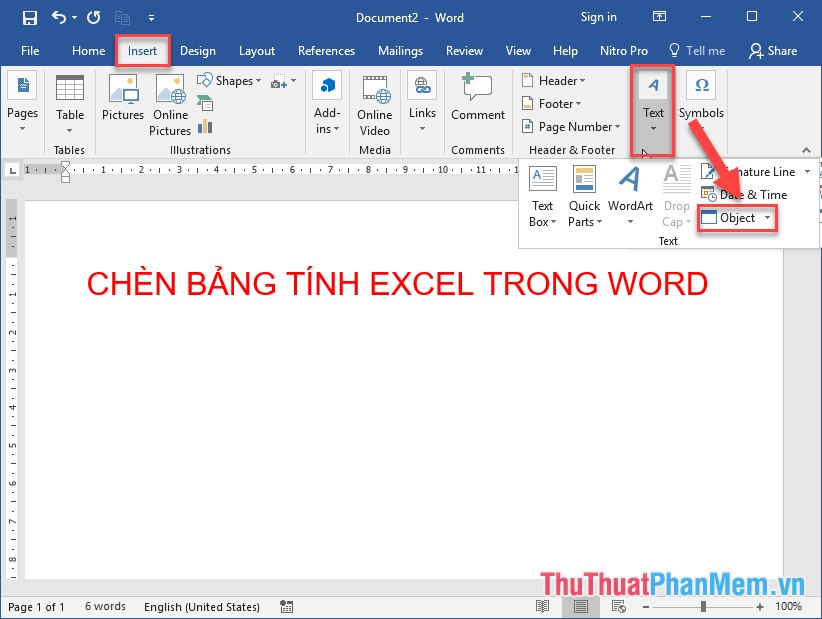 Kích chọn thẻ Insert - Text - Object