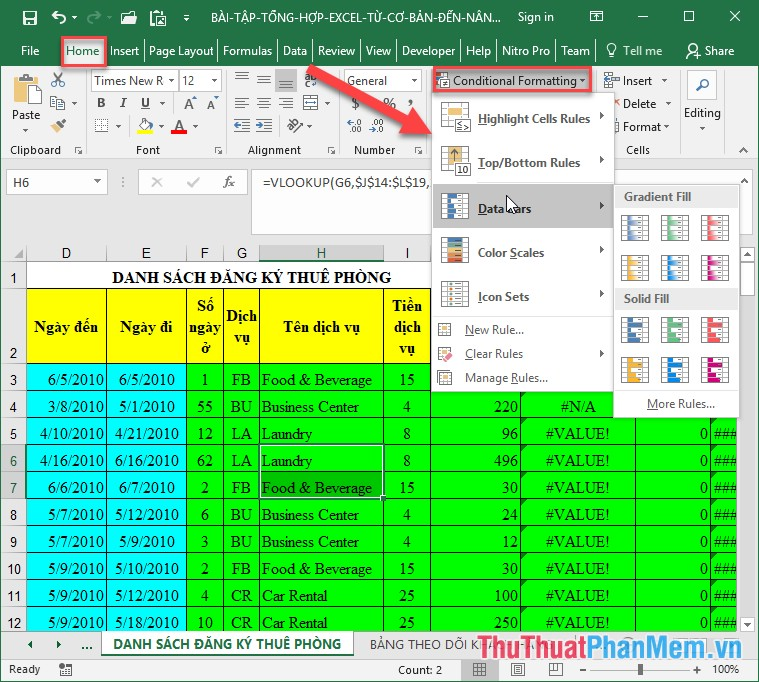 Ảo thuật trong Excel với Conditional Formating