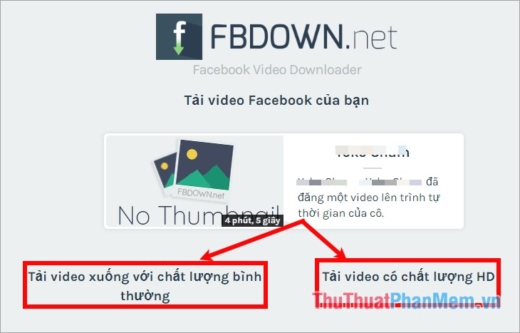 Nhấn chọn Download Video in Normal Quality hoặc Download Video in HD Quality