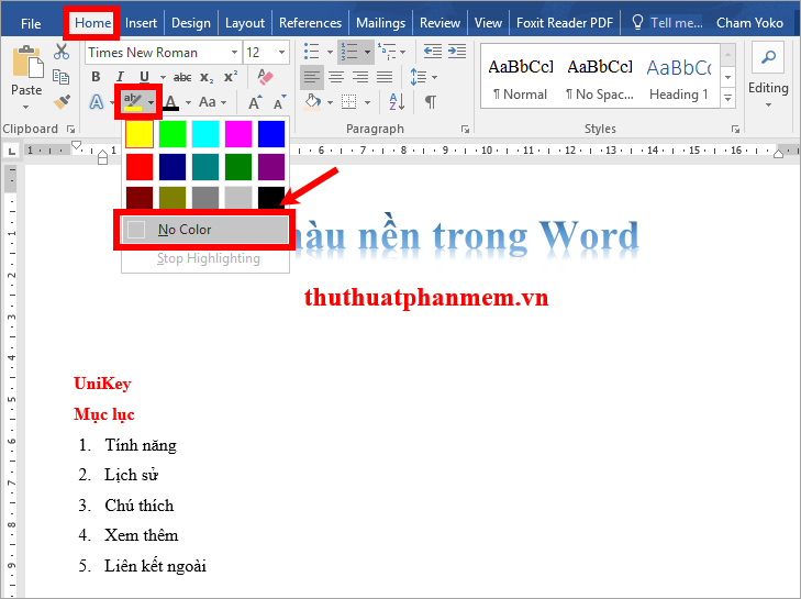 Chọn biểu tượng Text Highlight Color - No Color