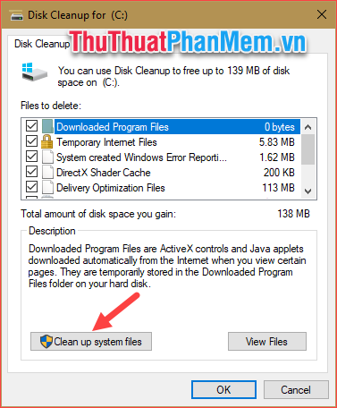 Chọn Clean up system files