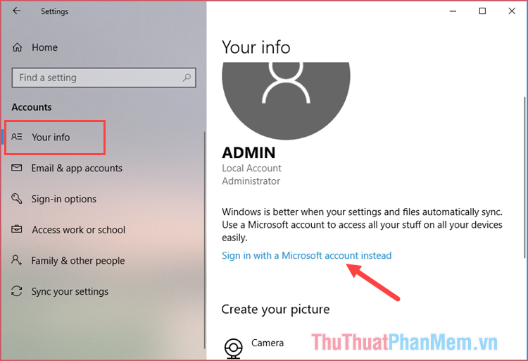 Chọn mục Sign in with a Microsoft account instead