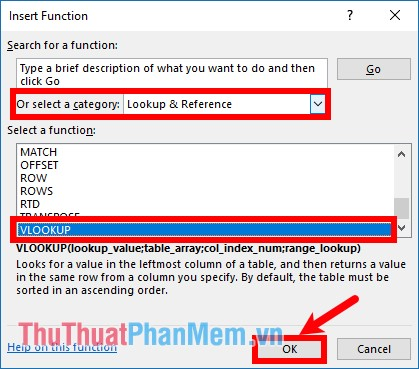 Chọn trong phần Or select a category là Lookup & Reference